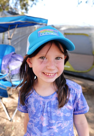 little girl camping