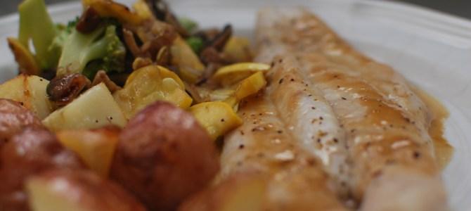 Honey Dijon Salmon, Roasted Potatoes and Sautéed Veggies