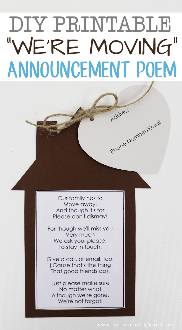 Printable Moving Announcements With Free Poem