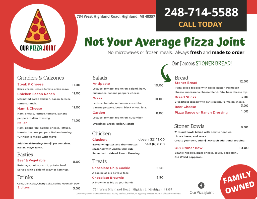 Our Pizza Joint Menu - Page 1 of 2