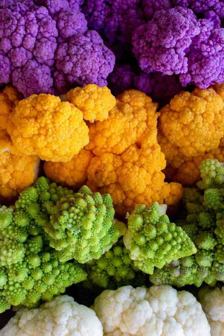 colorful broccoli and cauliflowers