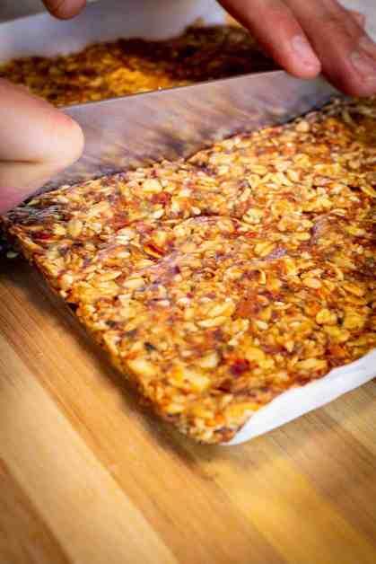 cutting vegan granola bars