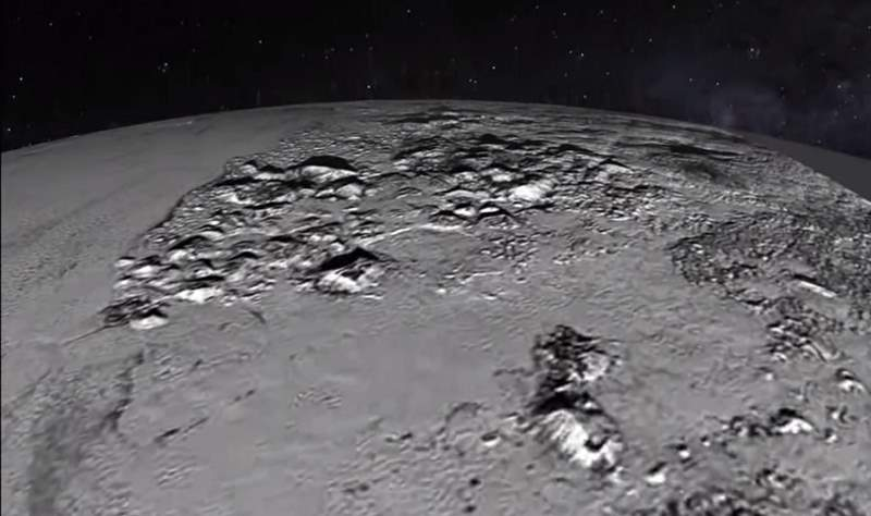 New Horizons Pluto flyover - Norgay Mountains