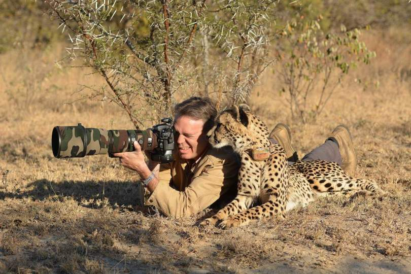 A cheetah and a photographer