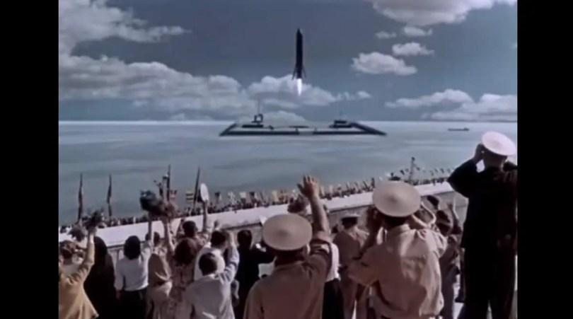 The Sky Calls (1959) Rocket Sea Landing Scene