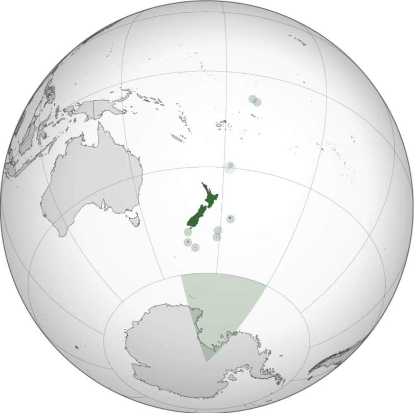 Location of New Zealand (orthographic projection)