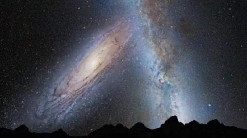 How Earth's sky would look in a few billion years. Andromeda and Milky way is about to collide.