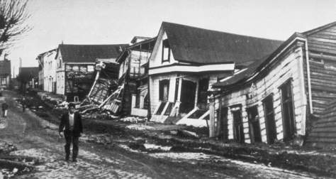 Most Powerful Earthquakes No. 1. A Valdivia street after the earthquake of 22 May 1960