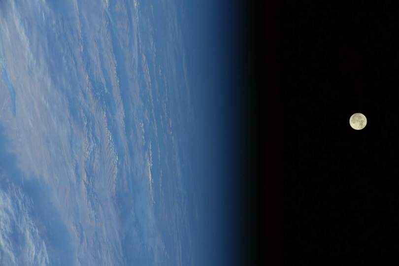 2017 supermoon rise from ISS (Randy Bresnik)