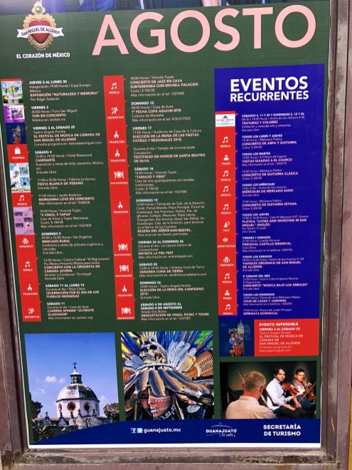 Events for one month in San Miguel de Allende