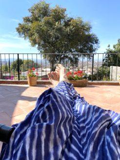 Sunbathing on our terrace