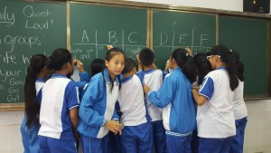 Chinese Students Alphabet Lesson Blackboard