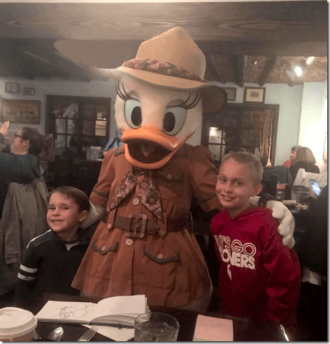 Landon and Maddox at Tusker House Restaurant at Disney