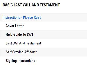 LegalZoom Document List