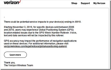 Verizon GPS Rollover Email
