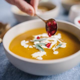 Butternut Squash Soup with Pomegranate