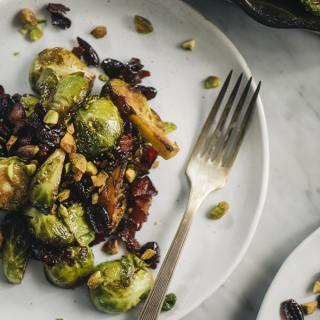 Pan-Roasted Brussels Sprouts with Cranberries and Pistachios