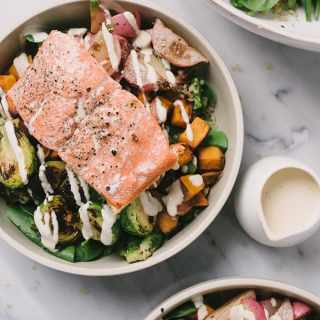 Salmon Grain Bowl with Roasted Vegetables