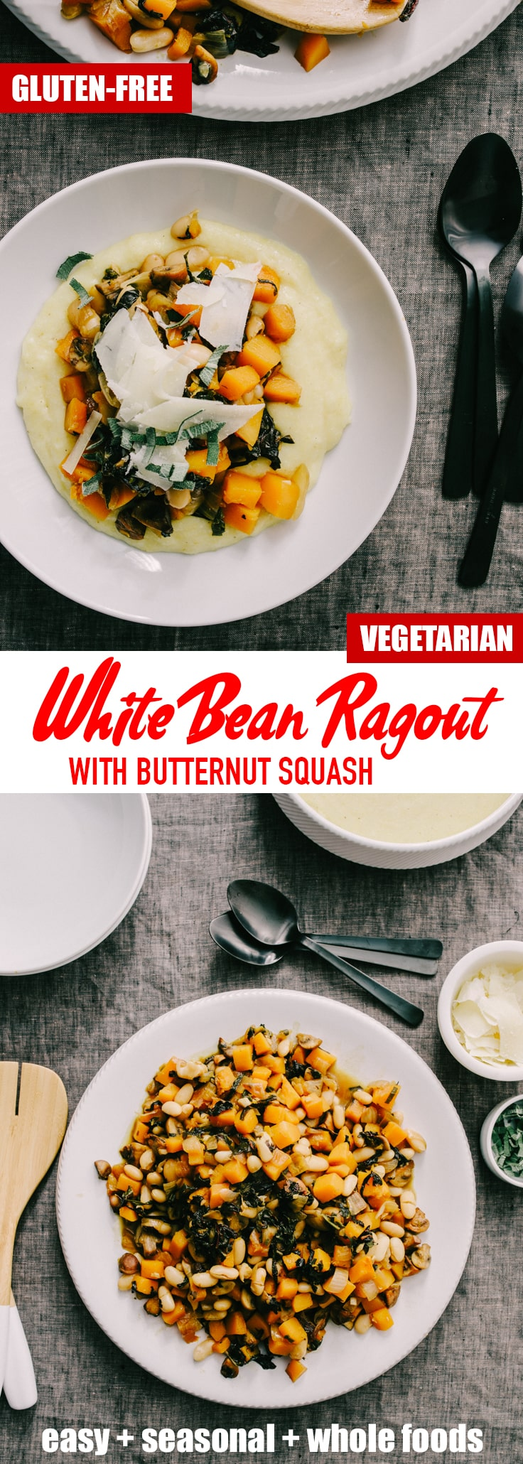 This white bean ragout with butternut squash and mushrooms is a hearty, super nutritious cool weather recipe. It's hearty enough to stand on it's own, but you can also serve this vegetarian one pot stew over polenta, rice, or crusty bread, or for a grain-free option, pureed or riced cauliflower. #vegetarian #stew #fallrecipe #winterrecipe #onepot #ragout