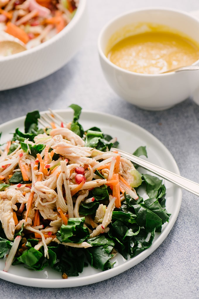 Not a fan of mayo? Me either. I'm always on the lookout for a healthy no mayo chicken salad recipe and this one with blood orange vinaigrette fits the bill! It's an easy weeknight meal that comes together quickly and is perfect for using up leftover roasted chicken.