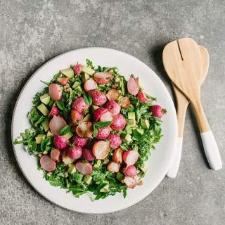 Farro Salad with Roasted Radishes and Mint Salsa Verde