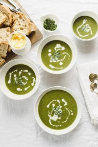 This spring green soup is refreshing and surprisingly hearty. Made with spinach, chard, and chicken bone broth it's brimming with vitamins and minerals. I love that it's highly customizable and can accommodate vegan, vegetarian, dairy-free, paleo, and Whole30!