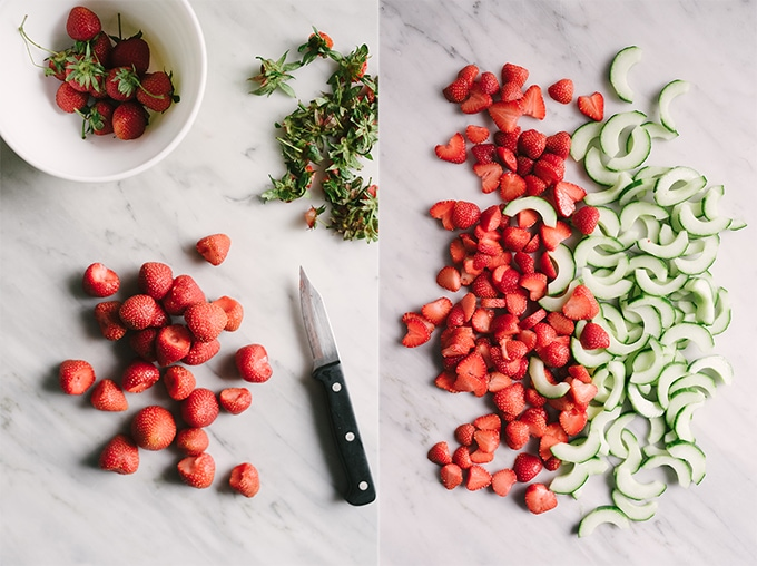This strawberry cucumber salad is sweet and refreshing with a satisfying crunch in every bite. It's a crazy easy, super seasonal side dish that's perfect in its simplicity.