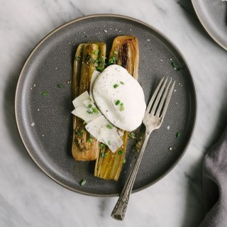 Braised Leeks with Poached Eggs