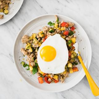 Ground Turkey Hash with Squash and Peppers