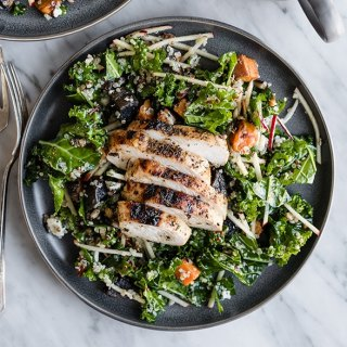 Kale Chicken Salad with Apples and Warm Potatoes