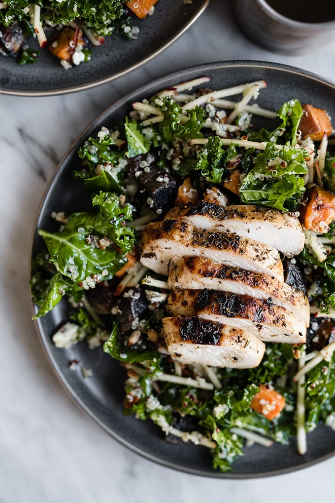 2. Kale Chicken Salad with Apples and Warm Potatoes