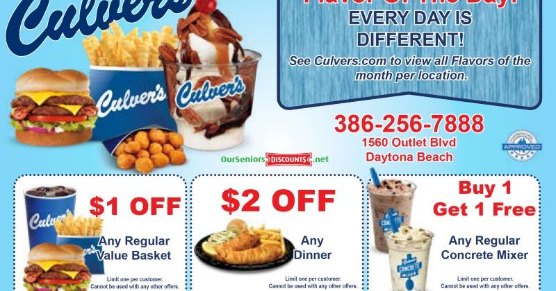 Enjoy an OurSeniors discount at Culver's Restaurants