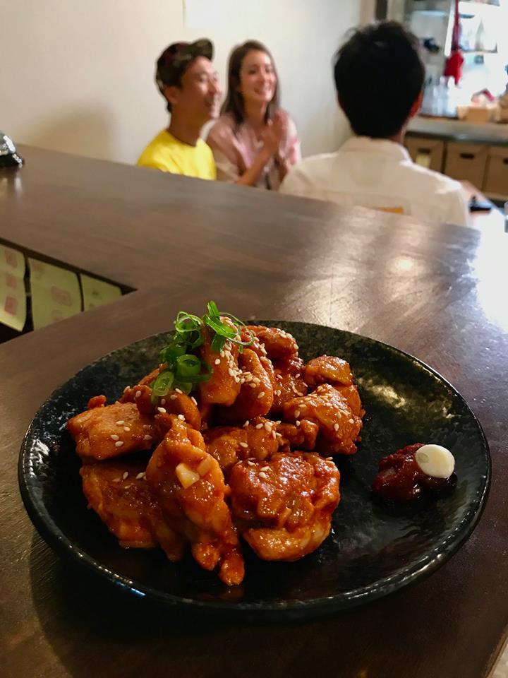 韓式辣雞丁,食尚玩家來拍攝禾火食堂,錄影中