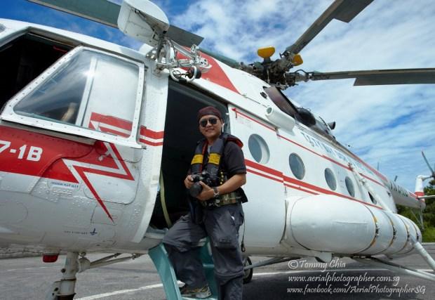 Stand at the door of MI17 helicopter in Vietnam.