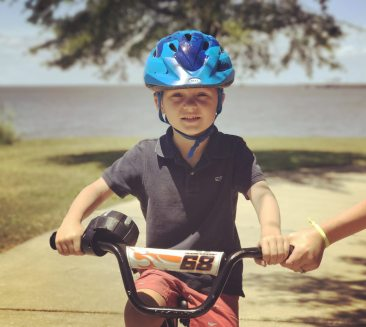 This is my first time to ride a bike without training wheels