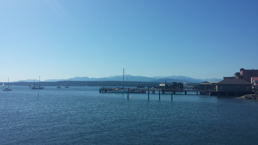Port Townsend, with the Olympic mountains in the background.