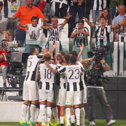 the team celebrating a goal