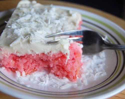 Strawberry Pineapple Cake with Cream Cheese Frosting from Table for Seven