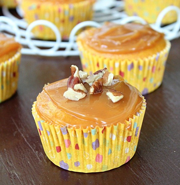 Pumpkin Caramel Cupcakes from Table for Seven