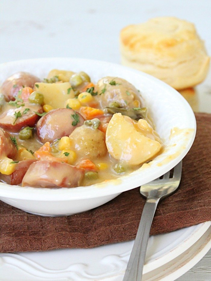 Crock Pot Sausage Potato and Cheese Stew  from Table for Seven