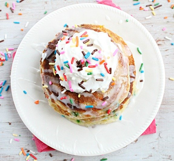Sprinkle Cake Pancakes from Table for Seven