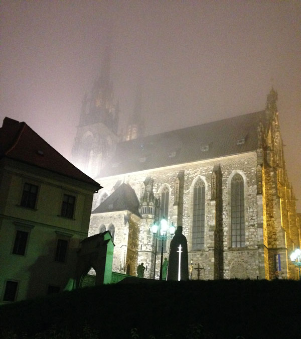 Foggy cathedral in Brno, Czech Republic