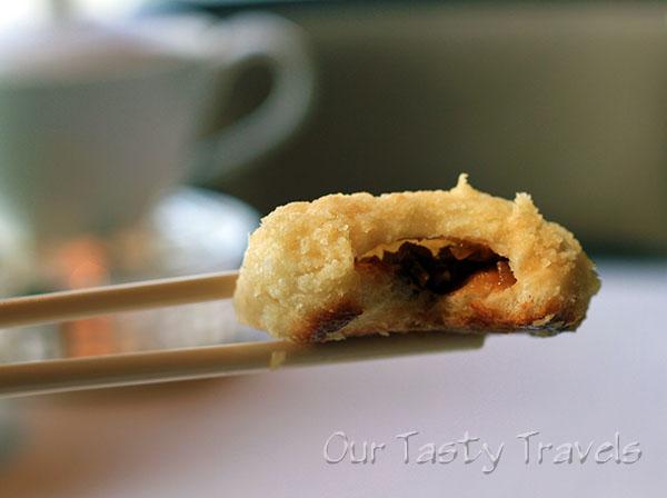 Tin Lung Heen Inside of Crispy Pork Bun  http://ourtastytravels.com/restaurants/tin-lung-heen-cantonese-dim-sum-at-the-ritz-carlton-hong-kong/ #ourtastytravels
