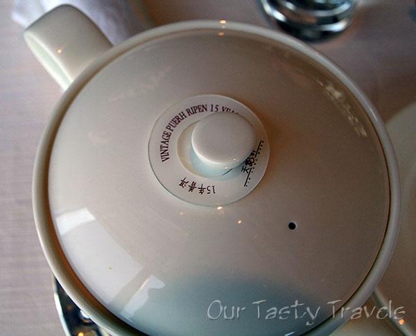 Premium Tea at Tin Lung Heen: 15 Year Aged Puerh Tea http://ourtastytravels.com/restaurants/tin-lung-heen-cantonese-dim-sum-at-the-ritz-carlton-hong-kong/ #ourtastytravels