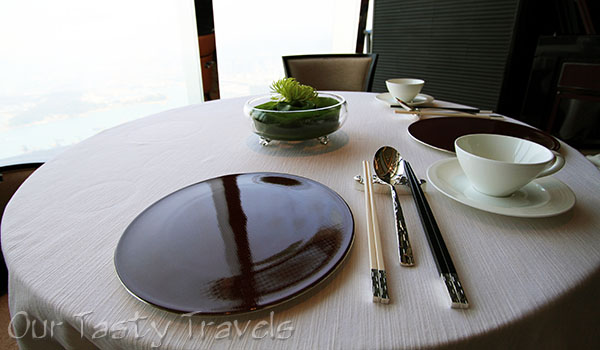 Table Setting Tin Lung Heen   http://ourtastytravels.com/restaurants/tin-lung-heen-cantonese-dim-sum-at-the-ritz-carlton-hong-kong/ #ourtastytravels