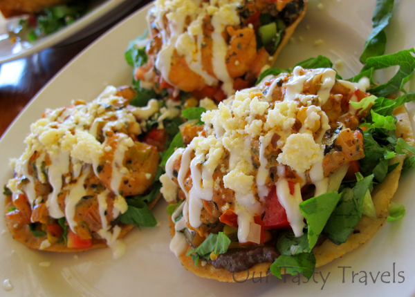 Creamy Chipotle Shrimp Tostadas from Wild Mangos in Ambergris Caye, Belize http://ourtastytravels.com/featured-articles/photo-of-the-week-creamy-chipotle-shrimp-tostadas-from-wild-mangos-in-ambergris-caye-belize/ #belize #ourtastytravels #cayetobelize