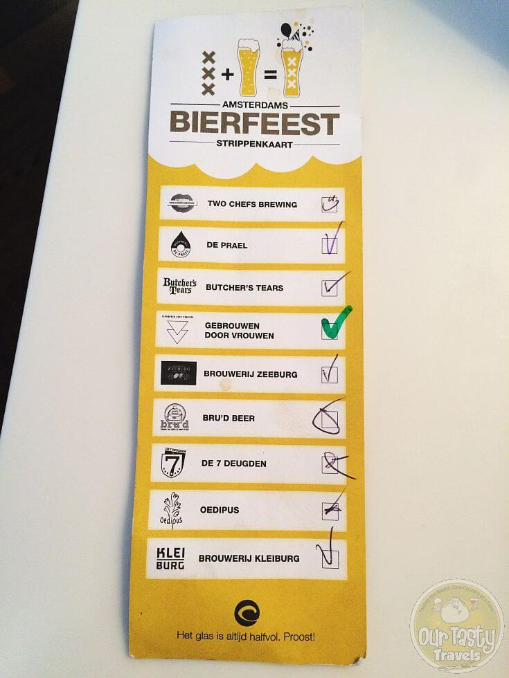 Strippenkaart for the Amsterdams Bierfeest. Try one beer from each of the nine participating Amsterdam breweries.