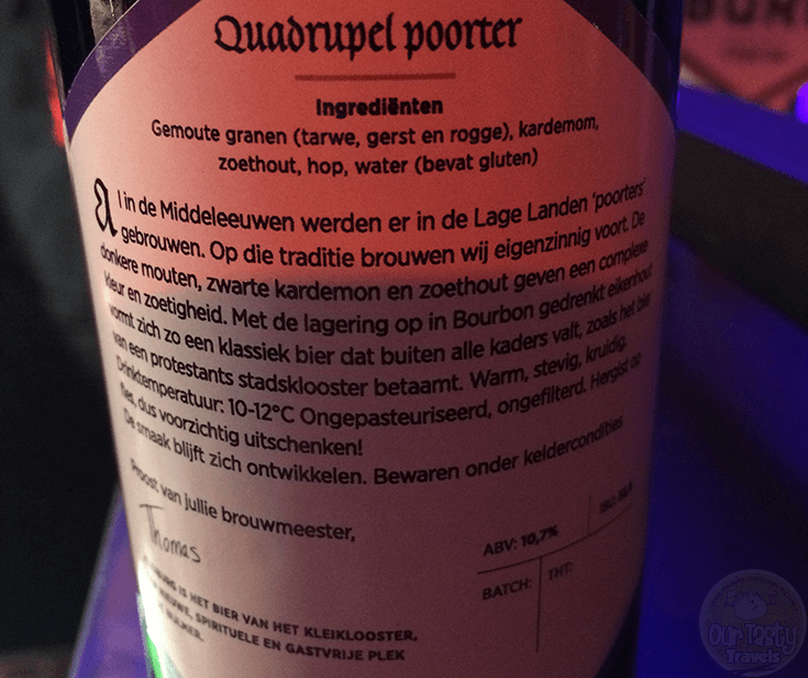 16-Jan-2016: Quadrupel Poorter by Brouwerij Kleiburg. One of the best beers I tried today at the Amsterdams Bierfeest at Conscious Hotels in Amsterdam. Nine Amsterdam Brewers, all of them brining their A-game. This is really an excellent Porter. Quite delicious. Nice mix of dark, bitter, and sweet. #ottbeerdiary