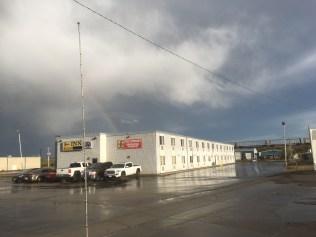Hotel and rainbow