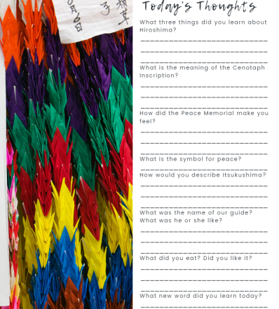 Questions to encourage critical thinking and cultural understanding from our kids travel journal.